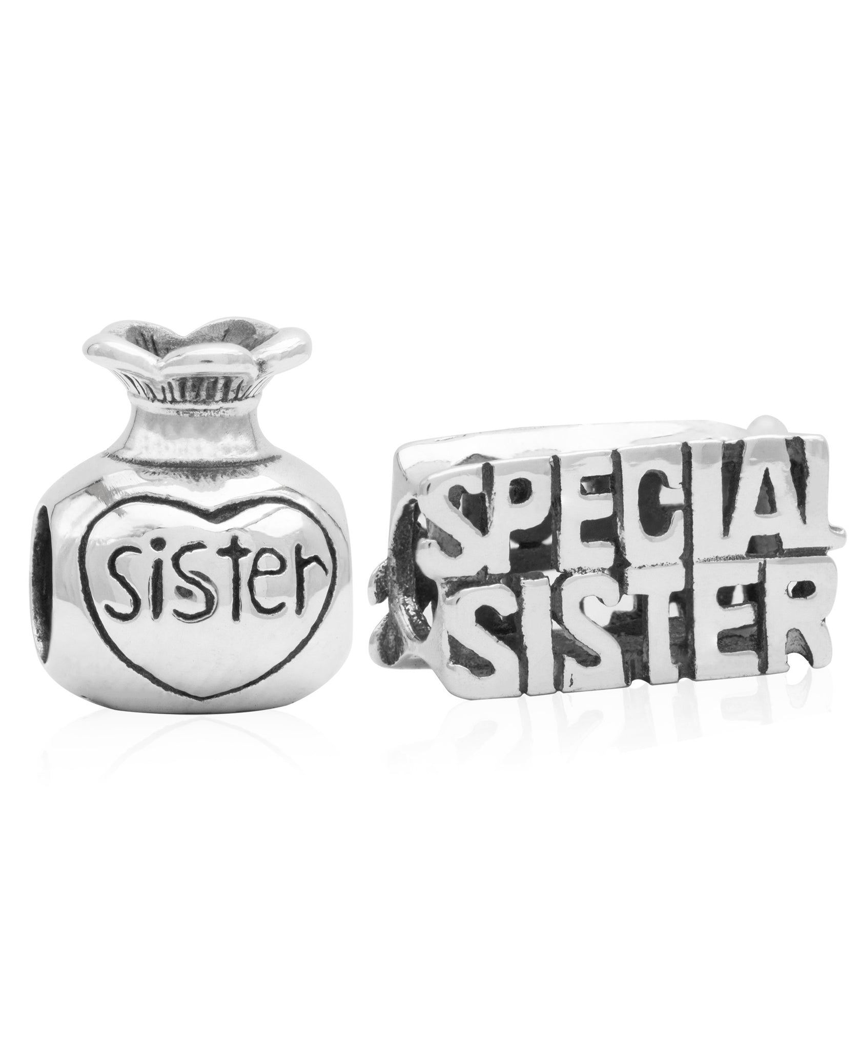 Children's Sterling Silver Special Sister Bead Charms - Set of 2 - Rhona Sutton Jewellery