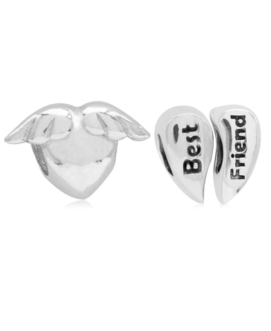 Children's Sterling Silver BFF Hearts Bead Charms - Set of 2 - Rhona Sutton Jewellery