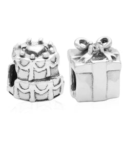 Children's Sterling Silver Birthday Cake & Present Bead Charms - Set of 2 - Rhona Sutton Jewellery