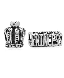 Children's Sterling Silver Crown Princess Bead Charms - Set of 2 - Rhona Sutton Jewellery