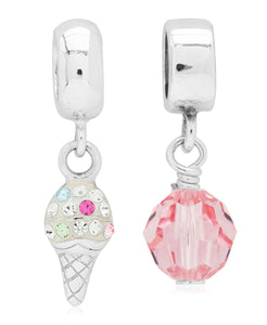 Children's Sterling Silver Ice Cream & Faceted Glass Drop Charms - Set of 2 - Rhona Sutton Jewellery