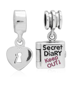 Children's Sterling Silver Secret Diary & Heart Lock Drop Charms - Set of 2 - Rhona Sutton Jewellery