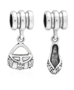 Children's Sterling Silver Purse & Slipper Drop Charms - Set of 2 - Rhona Sutton Jewellery