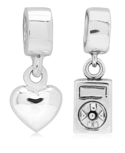 Children's Sterling Silver Music Love Drop Charms - Set of 2 - Rhona Sutton Jewellery