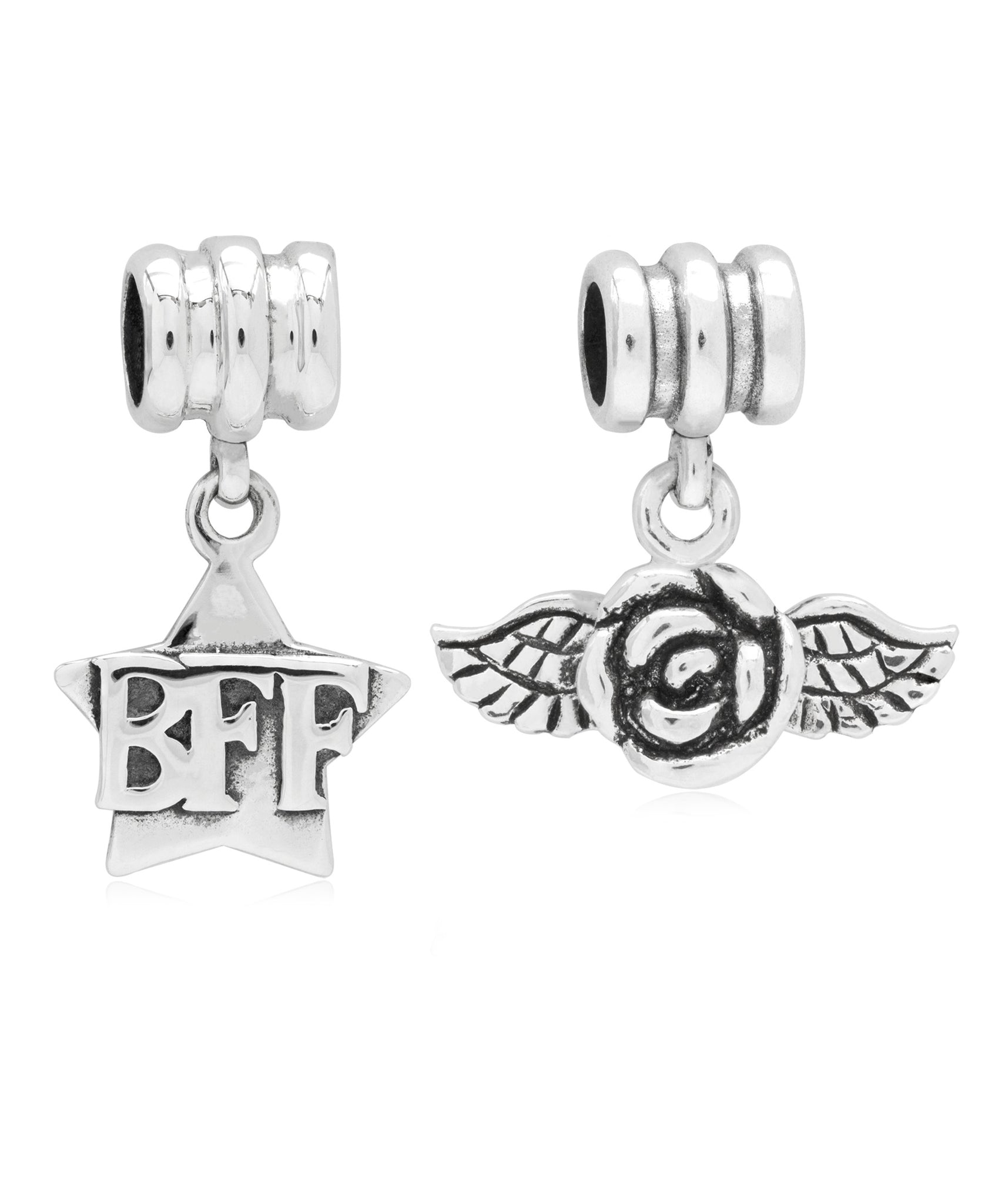 Children's Sterling Silver BFF & Rose Drop Charms - Set of 2 - Rhona Sutton Jewellery