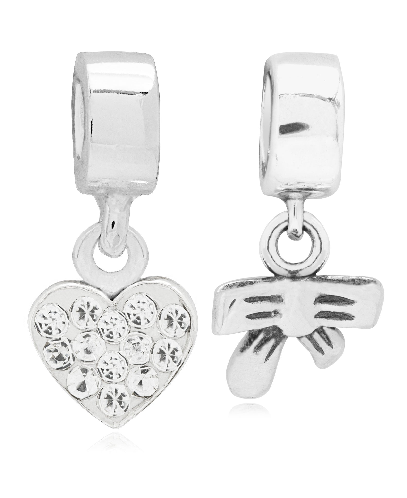 Children's Sterling Silver Heart & Bow Drop Charms - Set of 2 - Rhona Sutton Jewellery