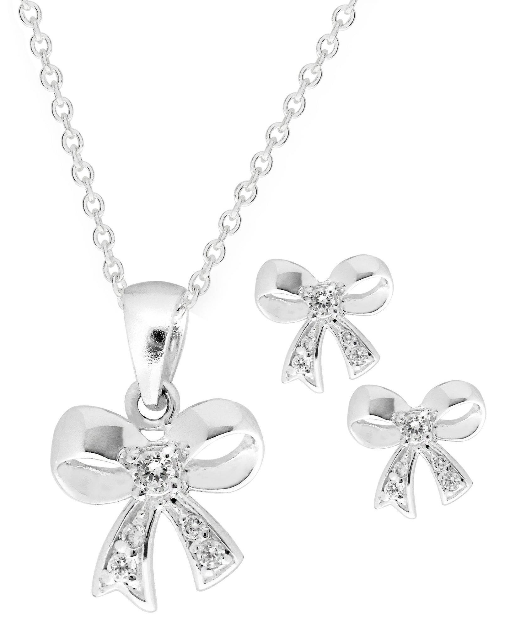 Children's Sterling Silver Cubic Zirconia Bow Pendant Necklace & Stud Earrings Set - Rhona Sutton Jewellery
