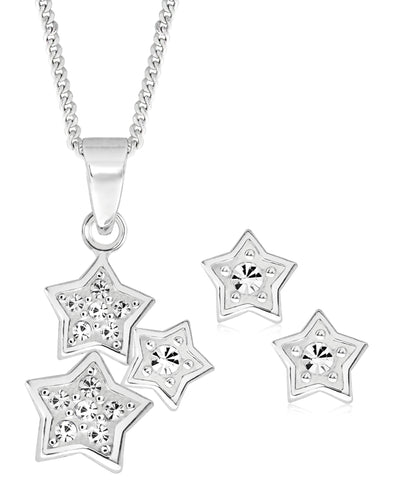 Children's Sterling Silver Cubic Zirconia Stars Pendant Necklace & Stud Earrings Set - Rhona Sutton Jewellery