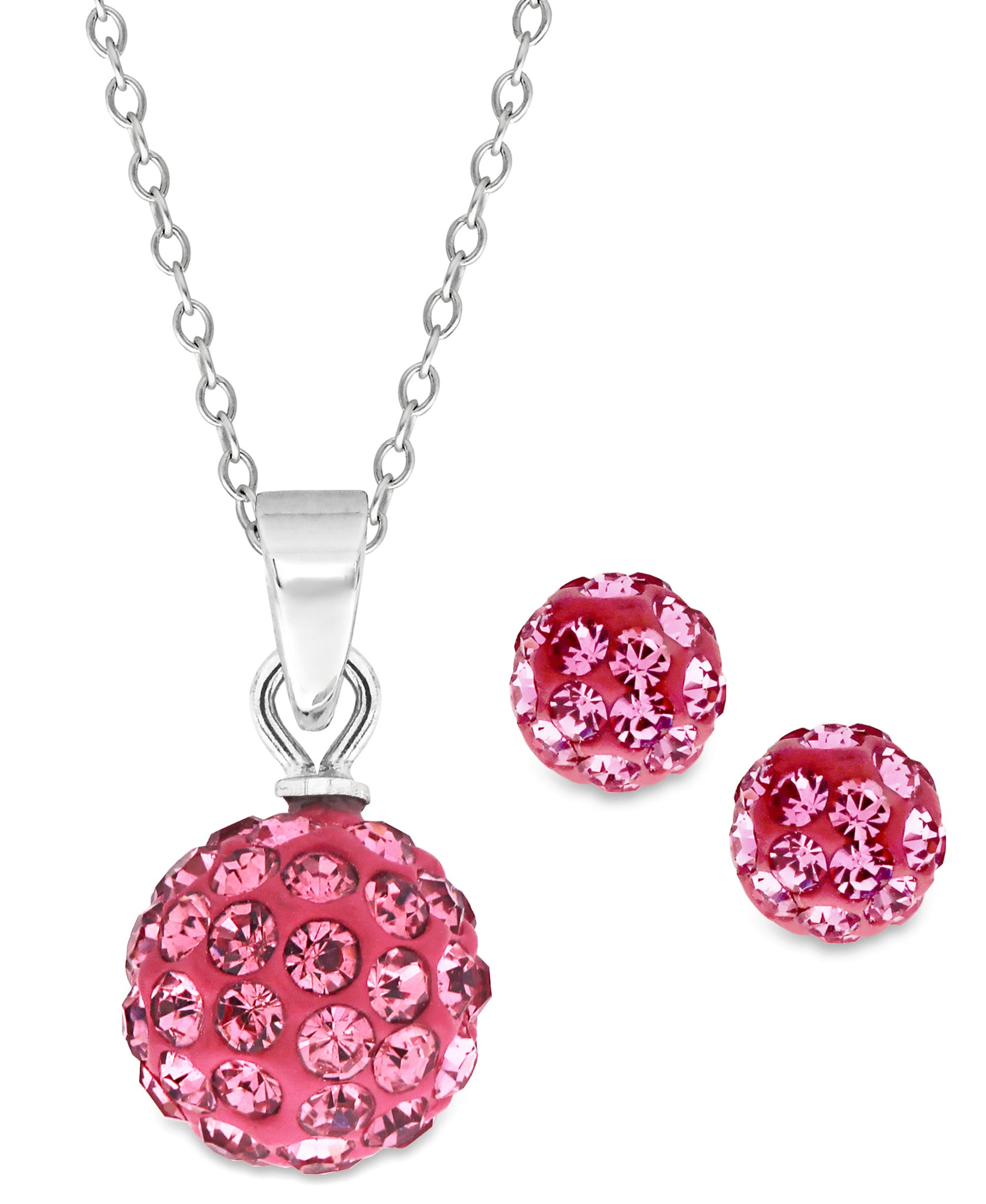 Children's Sterling Silver Crystal Ball Pendant Necklace & Stud Earrings Set - Rhona Sutton Jewellery