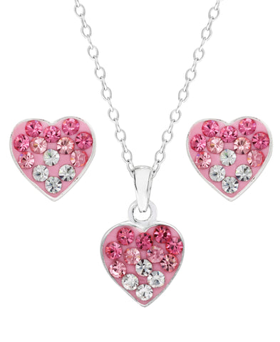 Children's Sterling Silver Ombre Crystal Heart Pendant Necklace & Stud Earrings Set - Rhona Sutton Jewellery