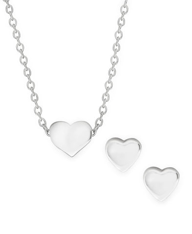 Children's Sterling Silver Heart Pendant Necklace & Stud Earrings Set - Rhona Sutton Jewellery