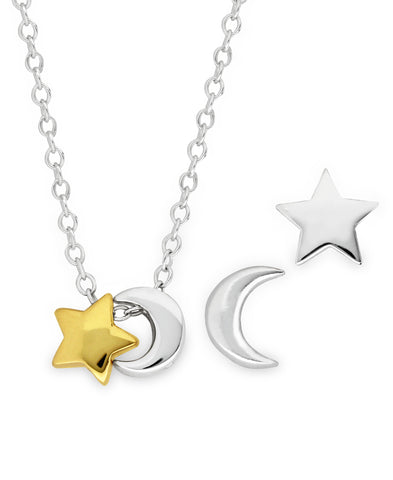 Children's 2-Tone Sterling Silver 14K Gold Celestial Stud Earrings & Pendant Necklace Set - Rhona Sutton Jewellery