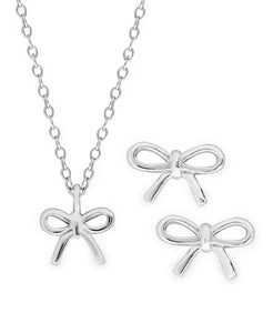 Children's Sterling Silver Bow Pendant Necklace & Stud Earrings Set - Rhona Sutton Jewellery