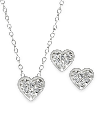 Children's Sterling Silver Crystal Heart Pendant Necklace & Stud Earrings Set - Rhona Sutton Jewellery