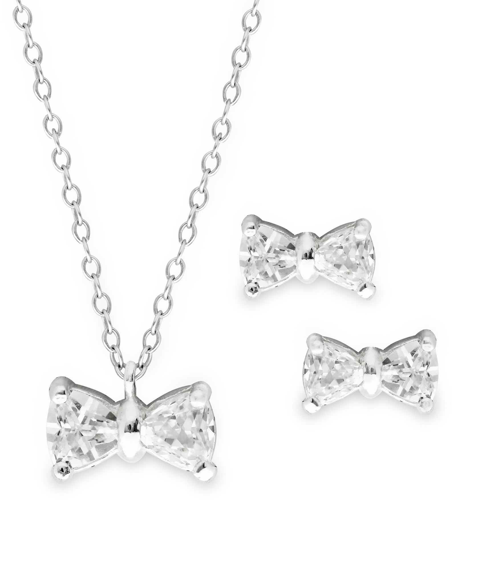 Children's Sterling Silver Cubic Zirconia Bowtie Pendant Necklace & Stud Earrings Set - Rhona Sutton Jewellery