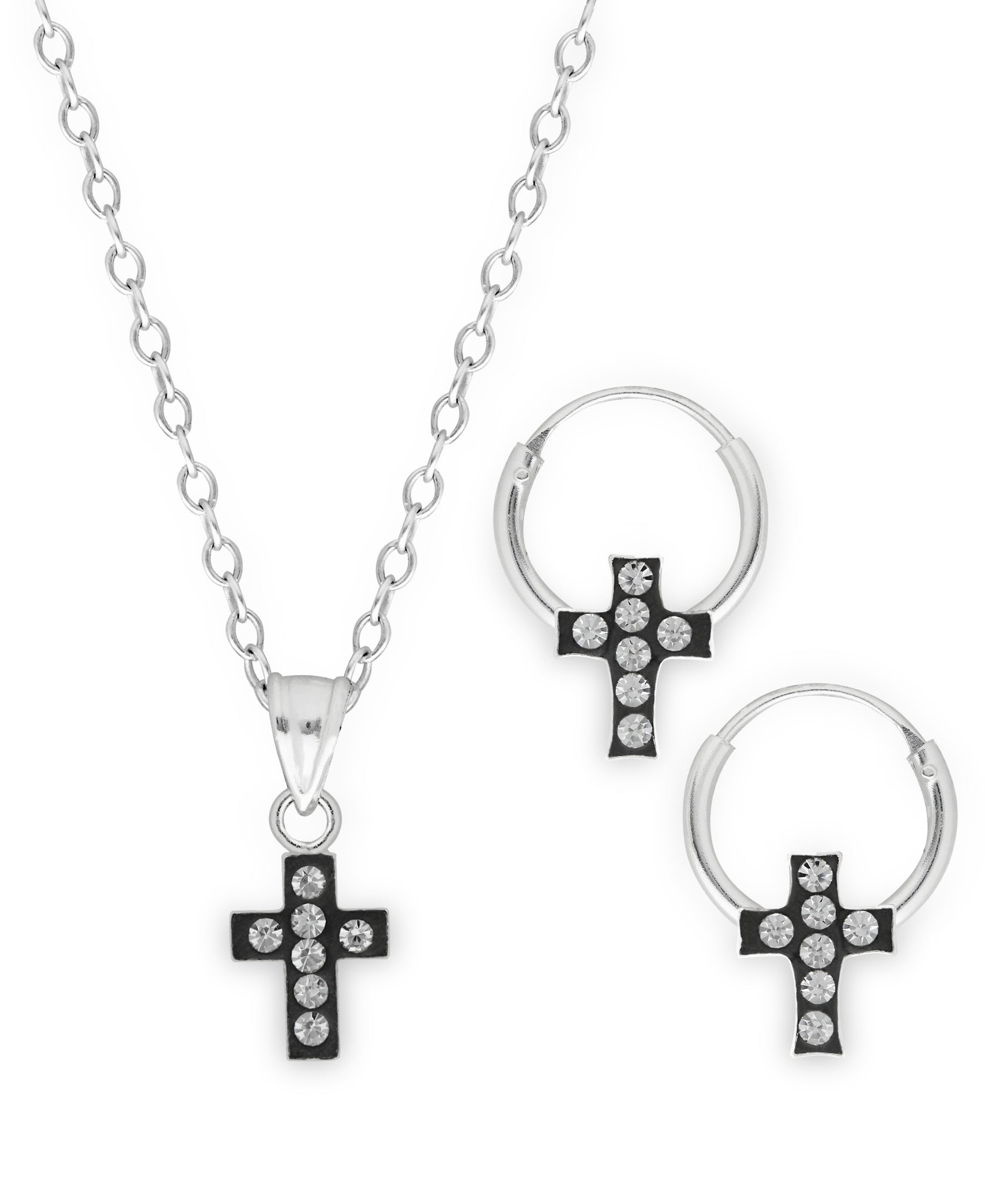 Children's Sterling Silver Crystal Cross Pendant Necklace & Hoop Earrings Set - Rhona Sutton Jewellery