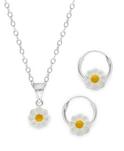 Children's Sterling Silver Daisy Pendant Necklace & Hoop Earrings Set - Rhona Sutton Jewellery