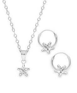 Children's Sterling Silver Cubic Zirconia Star Pendant Necklace & Hoop Earrings Set - Rhona Sutton Jewellery