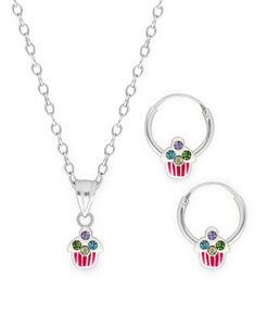 Children's Sterling Silver Crystal Cupcake Pendant Necklace & Hoop Earrings Set - Rhona Sutton Jewellery