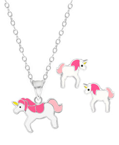 Children's Sterling Silver Unicorn Pendant Necklace & Stud Earrings Set - Rhona Sutton Jewellery