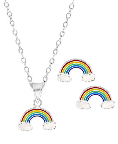 Children's Sterling Silver Rainbow Pendant Necklace & Stud Earrings Set - Rhona Sutton Jewellery