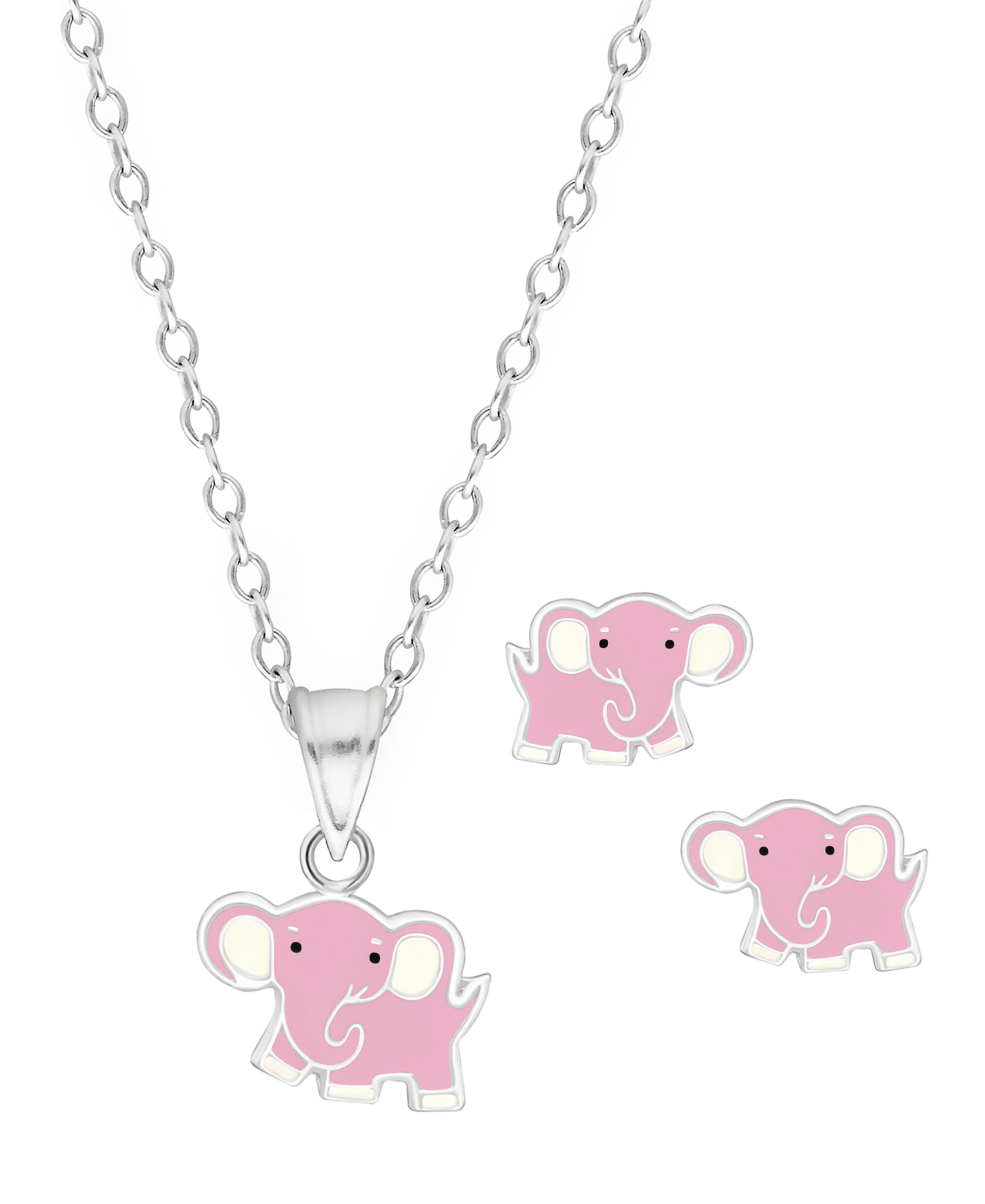 Children's Sterling Silver Elephant Pendant Necklace & Stud Earrings Set - Rhona Sutton Jewellery