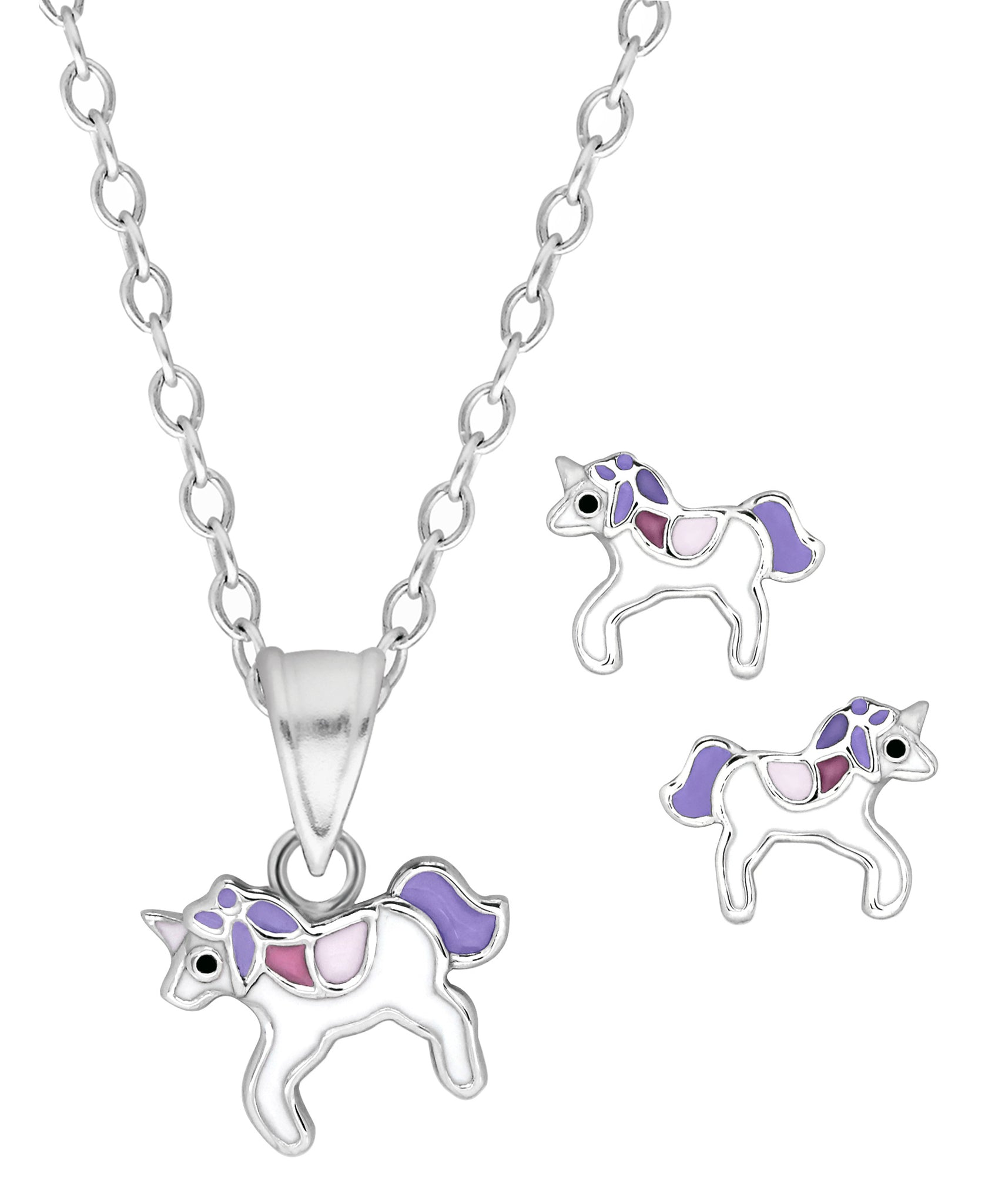 Children's Sterling Silver Purple Unicorn Pendant Necklace & Stud Earrings Set - Rhona Sutton Jewellery