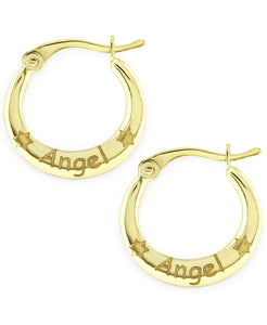 Children's 10K Gold Angel Hoop Earrings - Rhona Sutton Jewellery