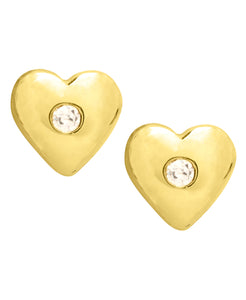 Children's 10K Gold & Cubic Zirconia Heart Stud Earrings - Rhona Sutton Jewellery