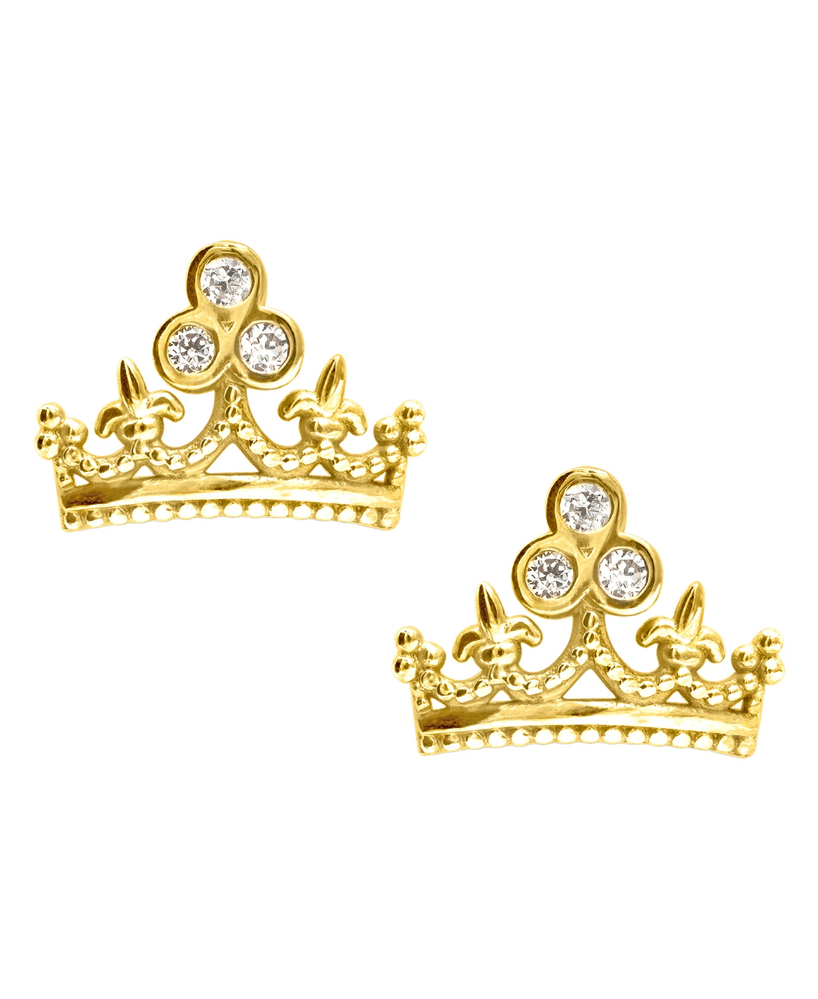 Children's 10K Gold & Cubic Zirconia Crown Stud Earrings - Rhona Sutton Jewellery
