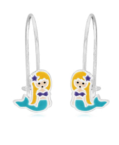 Children's Sterling Silver Enamel Mermaid Drop Earrings - Rhona Sutton Jewellery