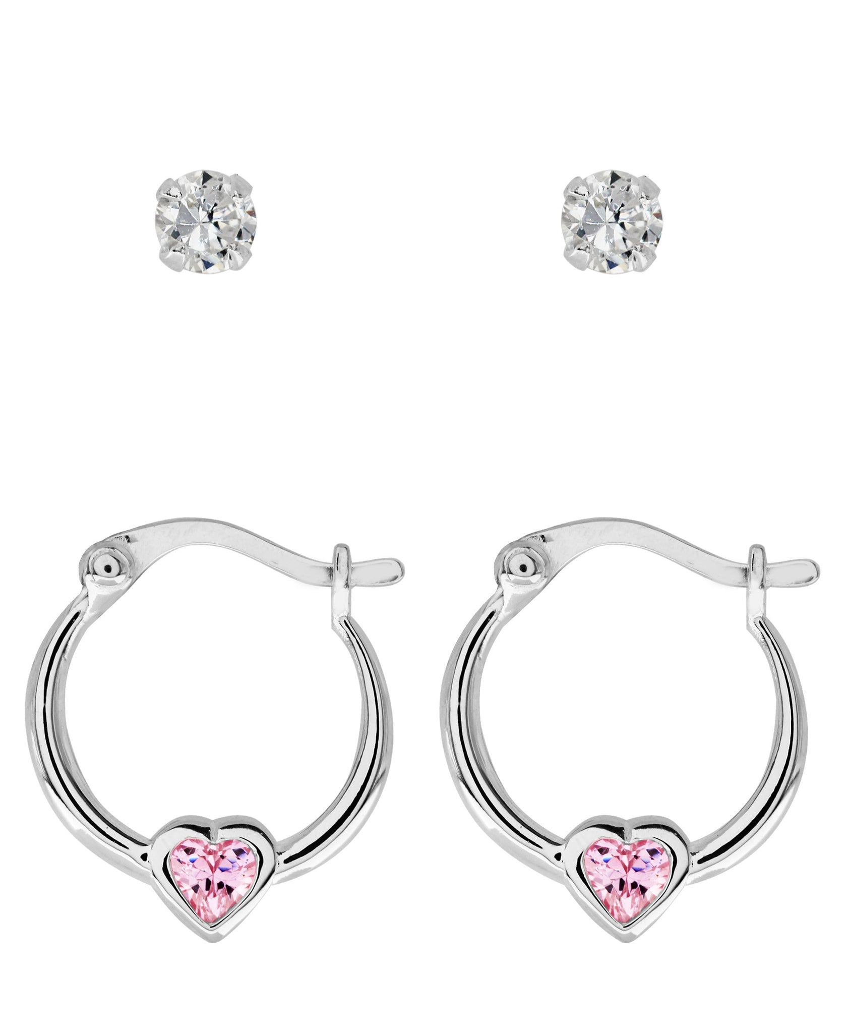 Children's Sterling Silver Cubic Zirconia Studs & Hoops - Set of 2 - Rhona Sutton Jewellery