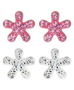Children's Sterling Silver Crystal Flower Stud Earrings - Set of 2 - Rhona Sutton Jewellery