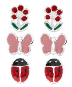 Children's Sterling Silver Butterfly, Ladybug, Flower Stud Earrings - Set of 3 - Rhona Sutton Jewellery