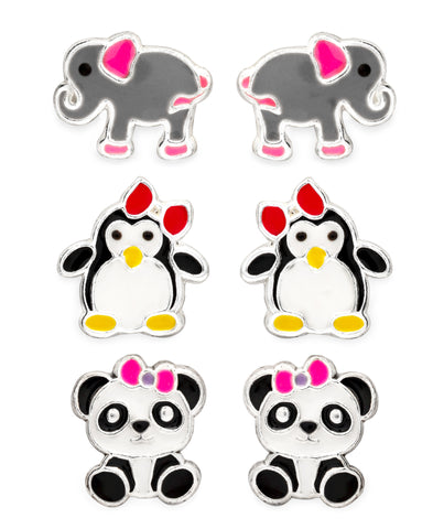 Children's Sterling Silver Panda, Elephant, Penguin Stud Earrings - Set of 3 - Rhona Sutton Jewellery