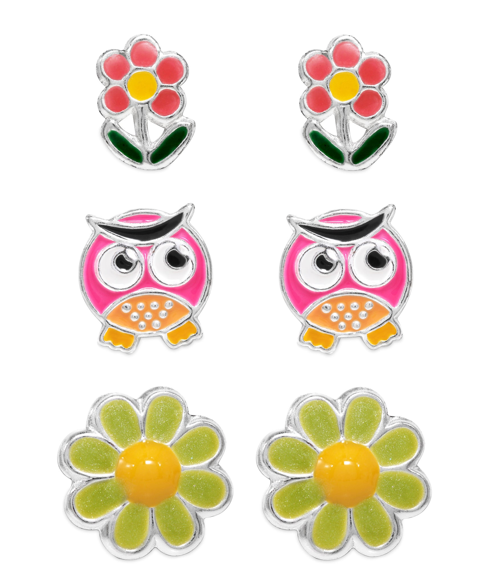 Children's Sterling Silver Owl, Blossom, Flower Stud Earrings - Set of 3 - Rhona Sutton Jewellery