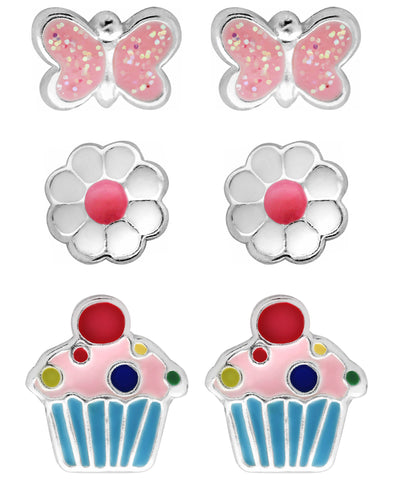 Children's Sterling Silver Butterfly, Flower, Cupcake Stud Earrings - Set of 3 - Rhona Sutton Jewellery