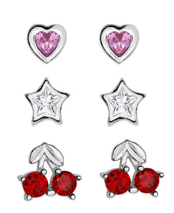 Children's Sterling Silver Cubic Zirconia Heart, Star, Cherry Stud Earrings - Set of 3 - Rhona Sutton Jewellery
