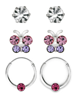 Children's Sterling Silver Butterfly Hoop & Studs - Set of 3 - Rhona Sutton Jewellery