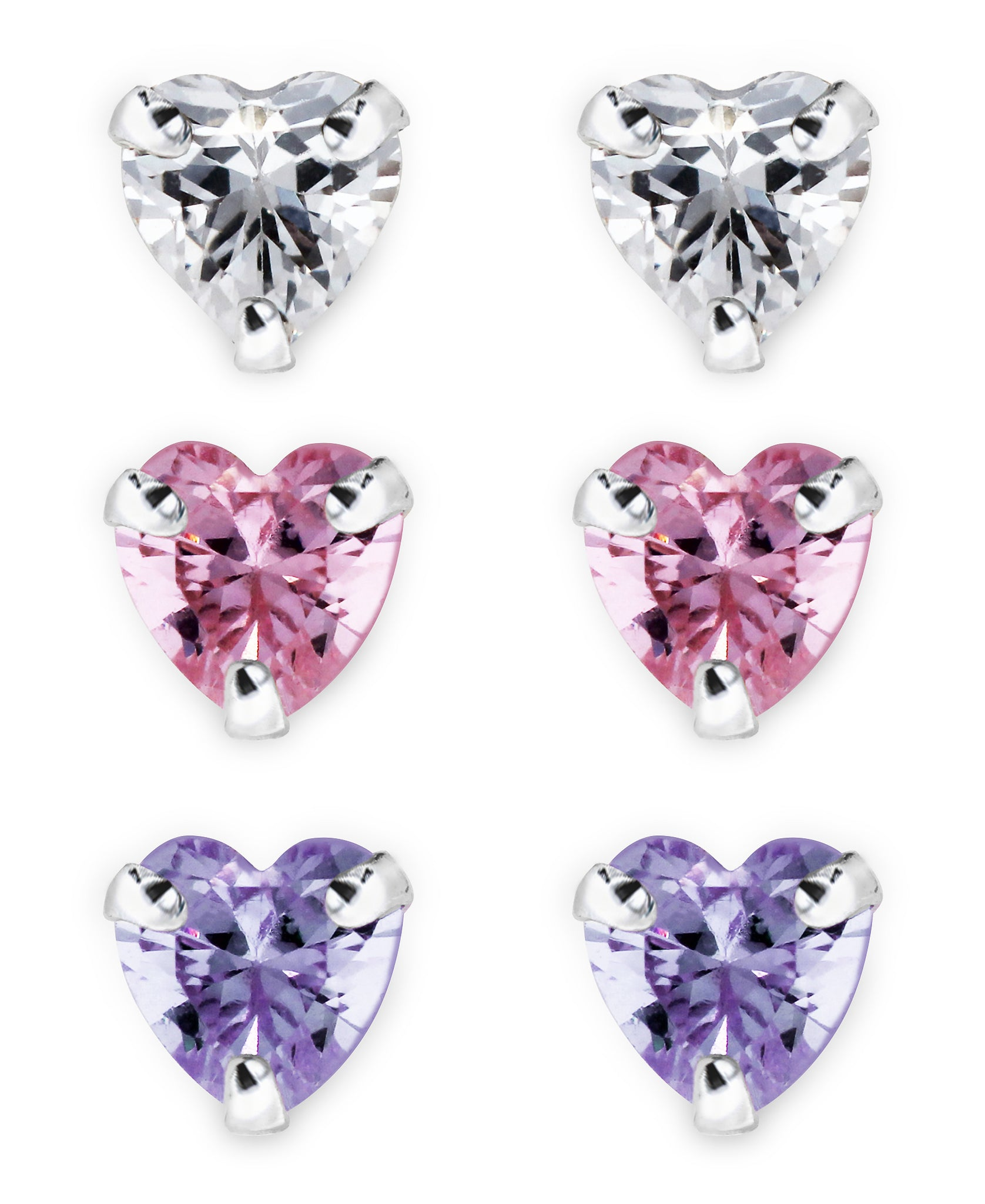Children's Sterling Silver Colored Cubic Zirconia Heart Stud Earrings - Set of 3 - Rhona Sutton Jewellery
