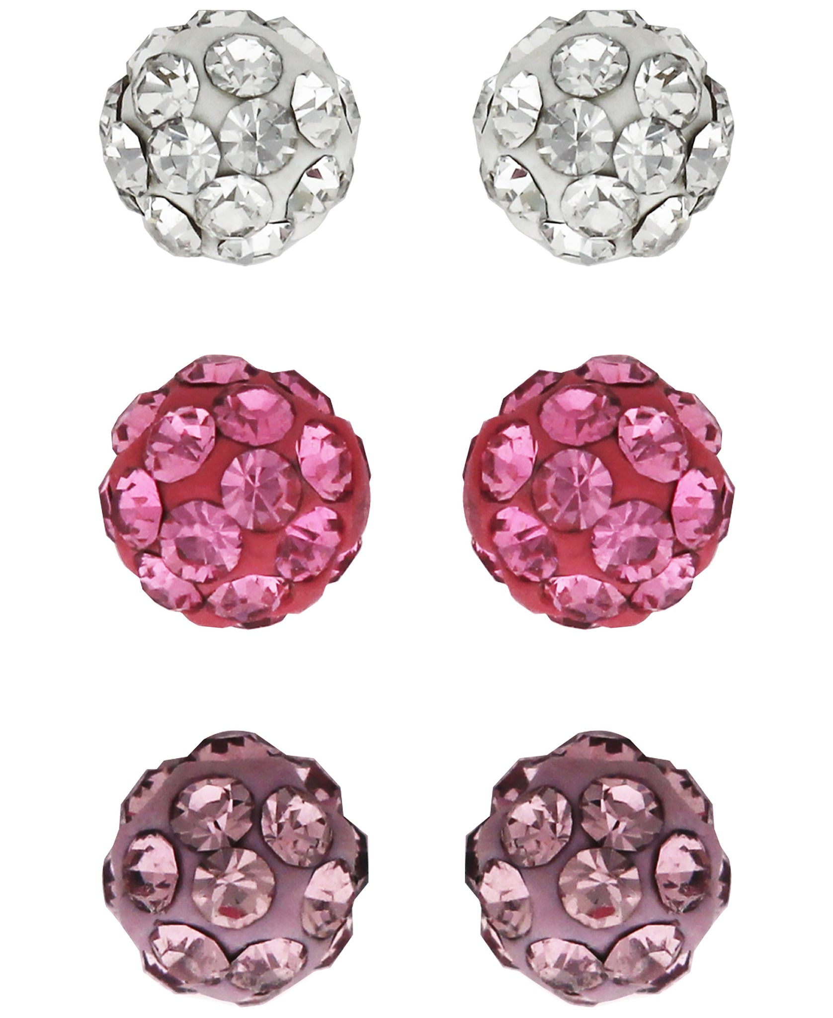 Children's Colored Crystal Balls Stud Earrings - Set of 3 - Rhona Sutton Jewellery