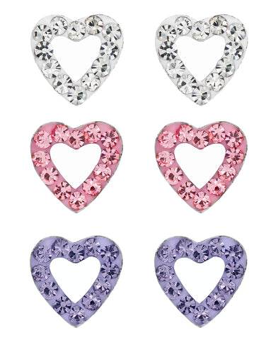 Children's Sterling Silver Crystal Hearts Stud Earrings - Set of 3 - Rhona Sutton Jewellery