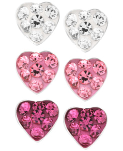 Children's Sterling Silver Fuchsia, Rose, White Crystal Heart Stud Earrings - Set of 3 - Rhona Sutton Jewellery