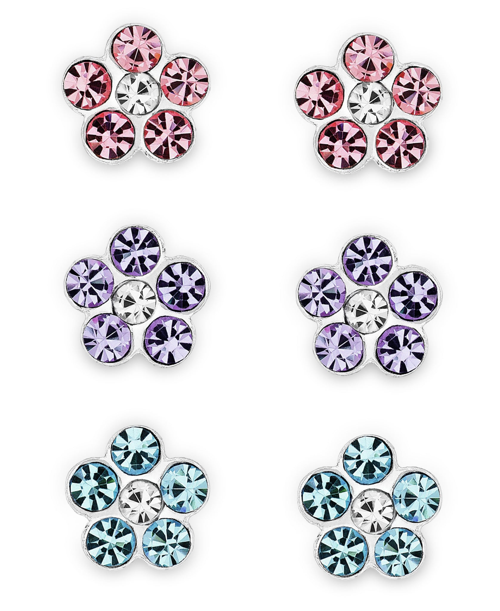 Children's Sterling Silver Crystal Flower Stud Earrings - Set of 3 - Rhona Sutton Jewellery