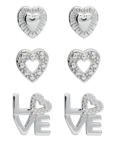 Children's Sterling Silver Hearts & Love Stud Earrings - Set of 3 - Rhona Sutton Jewellery