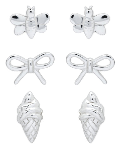 Children's Sterling Silver Bumble Bee, Bow, Ice Cream Stud Earrings - Set of 3 - Rhona Sutton Jewellery