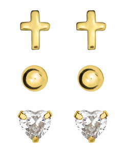 Children's 10K Gold over Sterling Silver Stud Earrings - Set of 3 - Rhona Sutton Jewellery