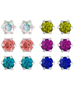 Children's Sterling Silver Colored Cubic Zirconia Stud Earrings - Set of 6 - Rhona Sutton Jewellery