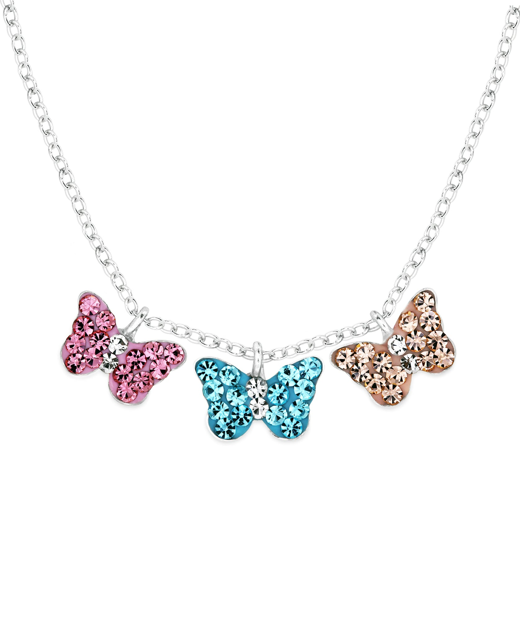 Children's Sterling Silver Crystal Triple Butterfly Pendant Necklace - Rhona Sutton Jewellery