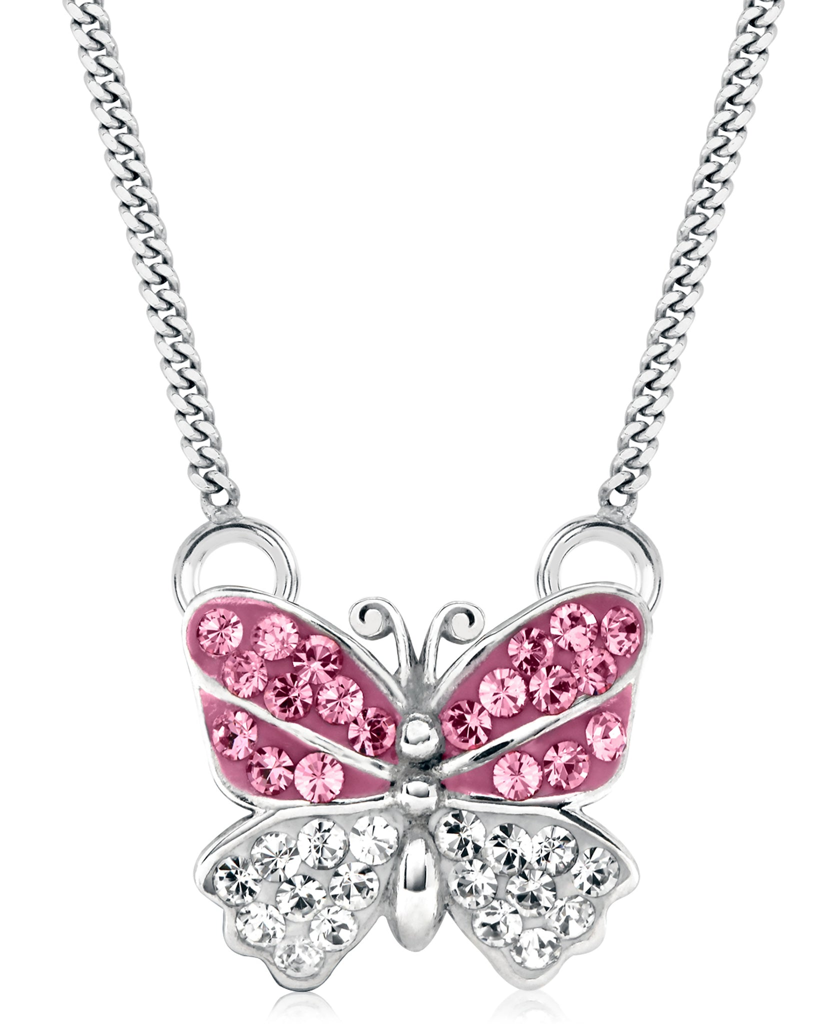 Children's Sterling Silver Crystal Butterfly Pendant Necklace - Rhona Sutton Jewellery